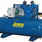 Jenny W5B-80 Two Stage Horizontal Electric Stationary Compressor with W Pump, 80 Gallon Tank, 3 Phase, 5 HP, 460V