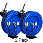 "Cyclone Pneumatic CP3888 3/8"" x 50' 300 PSI Air Compressor Hose Reel - 2 Pack"